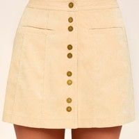 Made with Moxie Beige Corduroy Mini Skirt