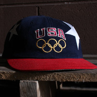 USA Stars Olympic Champion Snapback Hat Navy / Red