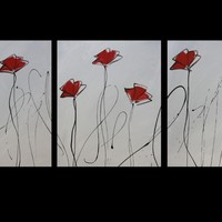 Abstract art canvas painting red grey black poppies Wall art paintings