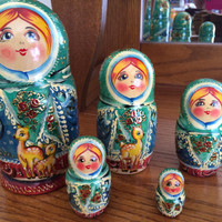 Winter Joy matreshka traditional russian nesting doll toy curved made painted by hand collectible decorative holiday birthday gift wood birc