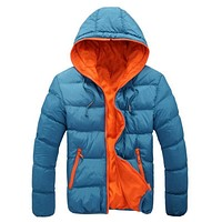 Zippered Hooded Cotton Padded Winter Jacket