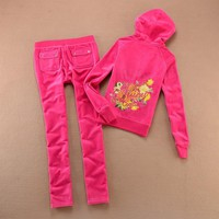 Juicy Couture Logo Flowers Velour Tracksuit 6137 2pcs Women Suits Rose