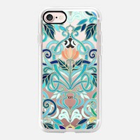 Ocean Aqua Art Nouveau Pattern with Peach Flowers transparent iPhone 7 Case by Micklyn Le Feuvre | Casetify