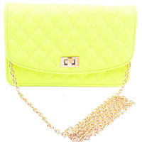Neon Yellow Quilted Bag