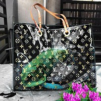LV Louis Vuitton Fashion Transparent jelly Shopping Bag Leather Shoulder Bag Satchel Tote Two Piece Set Black