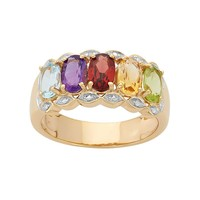 Gemstone 18k Gold Over Silver Ring (Stone/Silver/Gold)