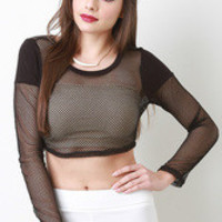Sheer Fishnet Long Sleeve Crop Top Color: Black, Size: L
