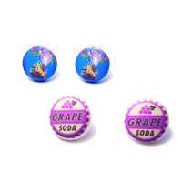 """Handmade Disney inspired Up! Earring set - House with Balloons and Grape Soda earrings 3/4"""" fabric button earrings"""