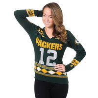 Green Bay Packers Rodgers A. #12  NFL Womens Glitter V-Neck Sweater
