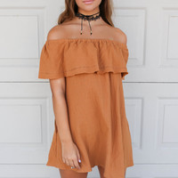 Tuscany Off Shoulder Ruffle Layered Shift Dress