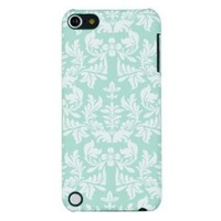 Mint Green Flower Embossed Hard Case for Apple iPod Touch 5, 5G (5th Generation) - Includes DandyCase Keychain Screen Cleaner [Retail Packaging by DandyCase]