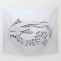 zentangle coy fish Wall Tapestry by Sweet Colors Gallery