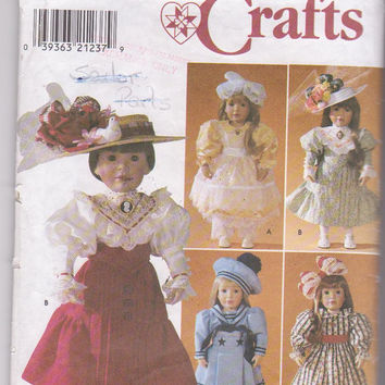 """American Girl/18"""" doll clothes pattern designed by Shirley Botsford for 5 complete Victorian era costumes Simplicity 7998 CUT and COMPLETE"""
