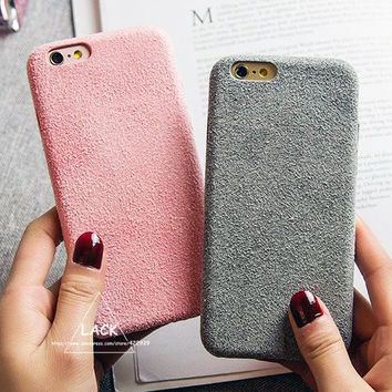 Fashion Vintage Candy Color Fuzzy Case For iphone 7 Case Luxury Soft TPU Slim Back Cover Phone Cases For iphone7 6 6S Plus Capa -0315