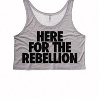 HERE FOR the REELLION Boxy Crop Top | Teen Tops Shirts Crop Top Boxy Tank Rebellious Rebel Shirt Whoa We Got a Bad Ass over Here