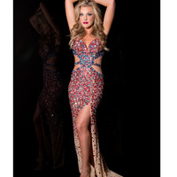 Jasz Couture 2014 Prom - Red Multi-Color Sexy Rhinestoned Gown