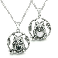 Owl and Cute Heart Love Couple Yin Yang Simulated Onyx White Cats Eye Pendant Necklaces