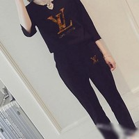 """LOUIS VUITTON "" Women's Leisure  Fashion Letter Printing Long Sleeve Cropped Trousers Couple Two-Piece Casual Wear"