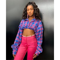 Women Plaid Long Sleeve Button Up Crop Top
