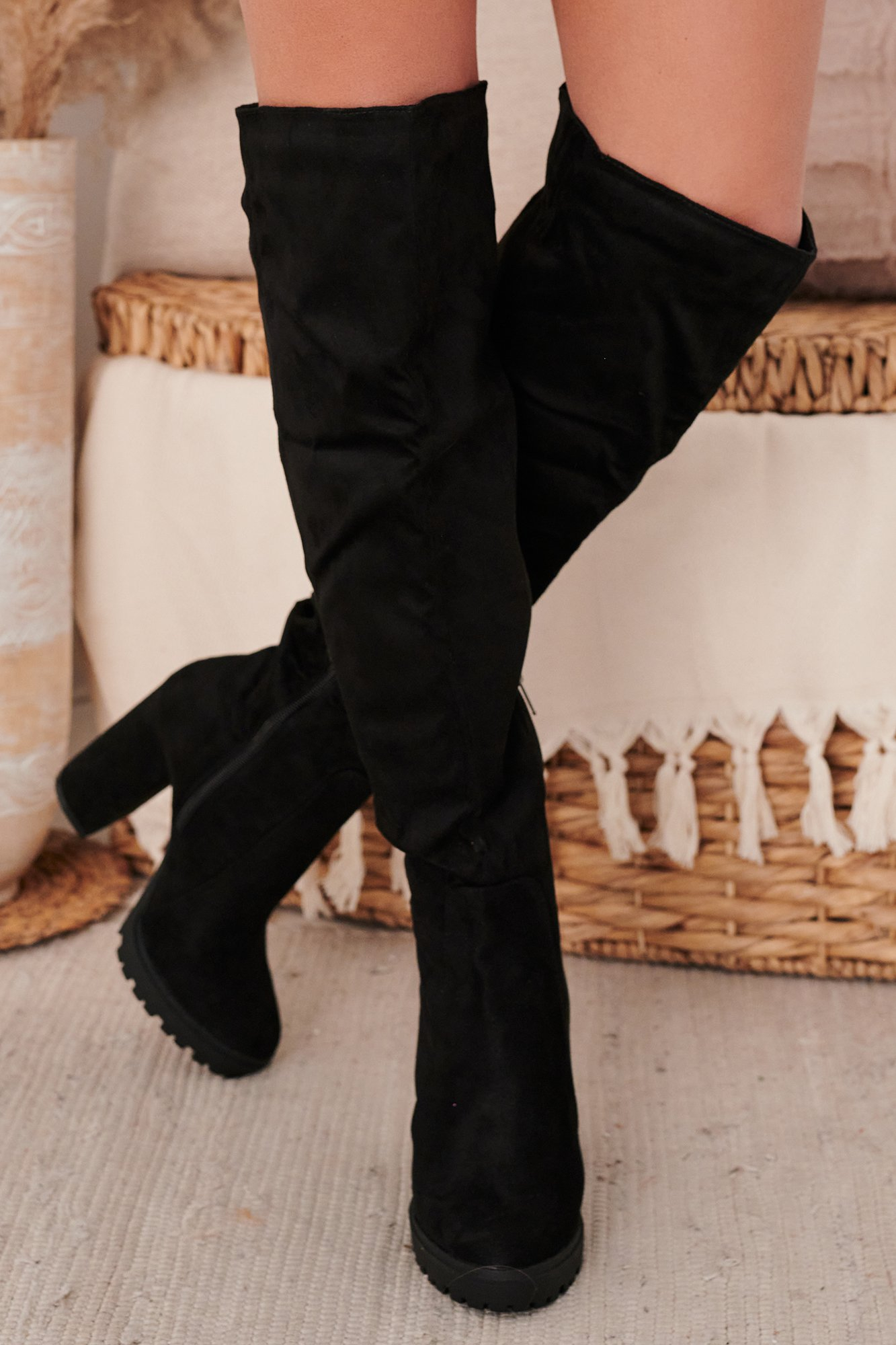 Image of IMPERFECT Stand Up Honey Faux Suede Thigh High Boots (Black Suede)