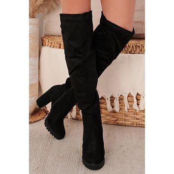 IMPERFECT Stand Up Honey Faux Suede Thigh High Boots (Black Suede)