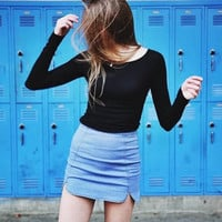 Brand Design Women Fashion brandy melville vintage Plaid High Waist Skirts  Denim Short Skirts Elastic Petals
