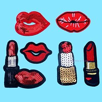 1pc Embroidered Patches Lip / Lipstick Iron On Patch Sewing On Sequins DIY Clothes Applique Garment Motif Woman Girl Brand Patch
