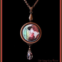 Handcrafted Antiqued Copper/Rose Pink 1920's Woman Photo Cameo Necklace