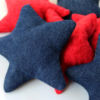 Star Shaped Red Blue Bean Bags Children's Toy (set of 6) Five-point Star 4th of July Patriotic - US Shipping Included