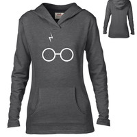 Harry Potter Inspired Clothing - Glasses & Scar Semi-Fitted Lightweight Pullover Hoodie - Ladies