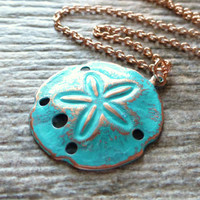 Rose Gold Sand Dollar Ocean Necklace, Teal Patina Sand Dollar Pendant, Rose Gold Jewelry, Beach Necklace, Blue, Green, Gift, Beach Jewelry