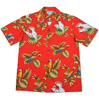 cockatoo red hawaiian cotton shirt