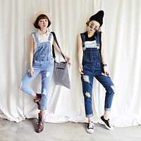 2017 Summer New Women Boyfriend jeans Female Corduroy Cowboy Straps Loose Beggars Pants Denim overalls