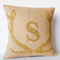 Monogram Pillow Covers - Antlers Pillow Custom Letter in Gold Sequin -Burlap Pillows -Moose Pillow -Christmas Pillows 18x18 -Gift -Rustic