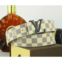 LV Louis Vuitton Fashion New Tartan Print Women Men Leisure Belt