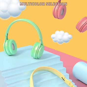 New product Macaron wireless bluetooth headset headset subwoofer stereo headset Android universal fresh green