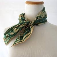 Green Floral Scarf Vintage 60s 70s Hair Wrap Scarf Accessory Silk Mod Retro 1960s 1970s