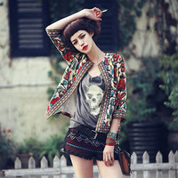 Women's Fashion Embroidery Bomber Floral Jacket Bohemian Varsity Coat 3/4 Sleeve Slim Fit O-neck Outwear