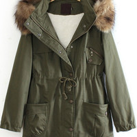 Army Green Detachable Fur Trimmed Hood Lined Parka | CozBest:lastest womens fashion clothing,shoes,dresses shop online
