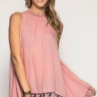 Trimmed in Lace High Neck Swing Tank {Blush}