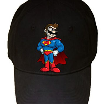 'Plumbers League of America' Fast Flying Caped Character Funny Video Game & Super Hero Team Parody - 100% Cotton Adjustable Hat