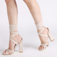 Vera Lace Up Heels in Nude Faux Suede