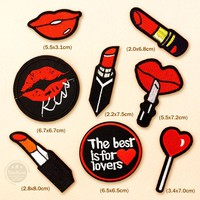 8pcs/lot Lips Kiss Lipstick DIY Cartoon Badges Clothe Embroidery Patch Applique Ironing Clothing Sewing Supplies Decorative
