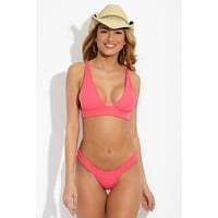 Banned Ribbed Long Triangle Bikini Top - Rosie Pink