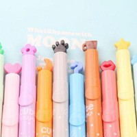 Korean Creative Fluorescent Marker Pen Office Stationery Student Supplies Cute Styles Stamp Permanent Stationery Pen DD220
