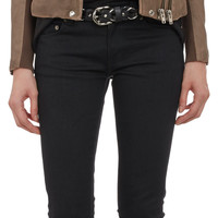 Leather & Rib-Knit Combo Moto Jacket