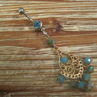Belly Button Ring - Body Jewelry - Gold Dangly Charm with Blue Beads With Lt. Blue Gem Belly Button Ring