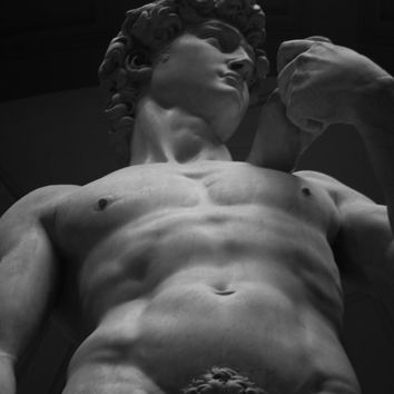 Black and White Photograph of Michelangelo's Sculpture David, Fine Art Photography, Sculpture Photography, Wall Art, Loft Living Artwork.
