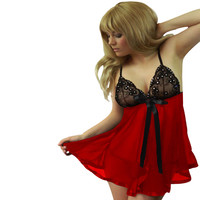 Red and Black Bead Accent Lace Mesh Babydoll Lingerie