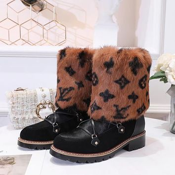 lv louis vuitton trending womens men leather side zip lace up ankle boots shoes high boots 232